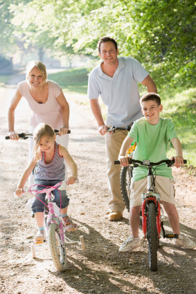 Family of Four on Bikes - Denver Colorado Lawyer Attorney Family Law Estate Planning Will Living Wills Guardian Child Custody Adoption